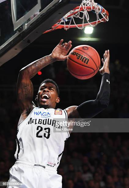 Casey Prather of Melbourne United slam dunks during game four of the NBL Grand Final series between the Adelaide 36ers and Melbourne United at...