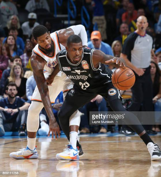 Casey Prather of the Melbourne United handles the ball against the Oklahoma City Thunder during the preseason game on October 8 2017 at Chesapeake...