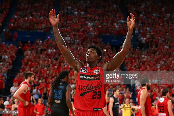 Casey Prather of the Wildcats acknowledges the crowd after being substituted out of the game during game three of the NBL Grand Final series between...