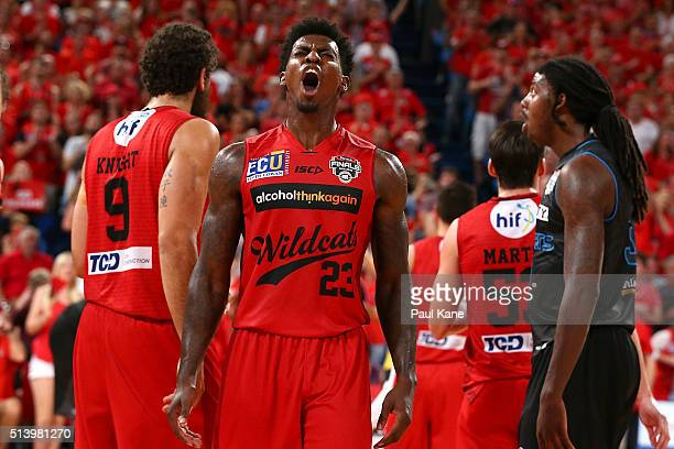 Casey Prather of the Wildcats celebrates after being substituted out of the game during game three of the NBL Grand Final series between the Perth...