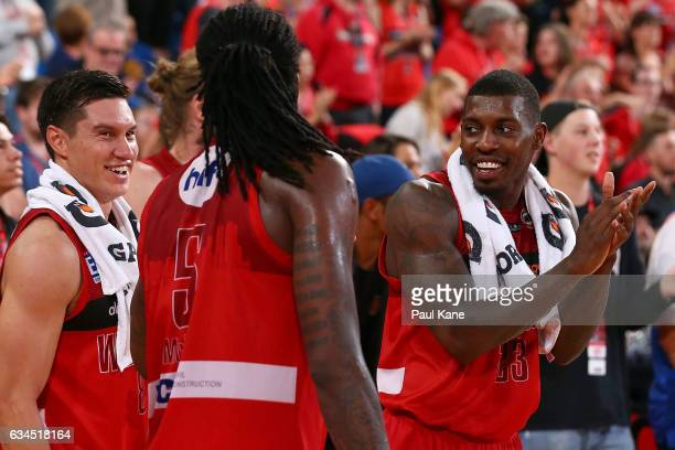 Casey Prather of the Wildcats celebrates winning the round 19 NBL match between the Perth Wildcats and the Sydney Kings at Perth Arena on February 10...