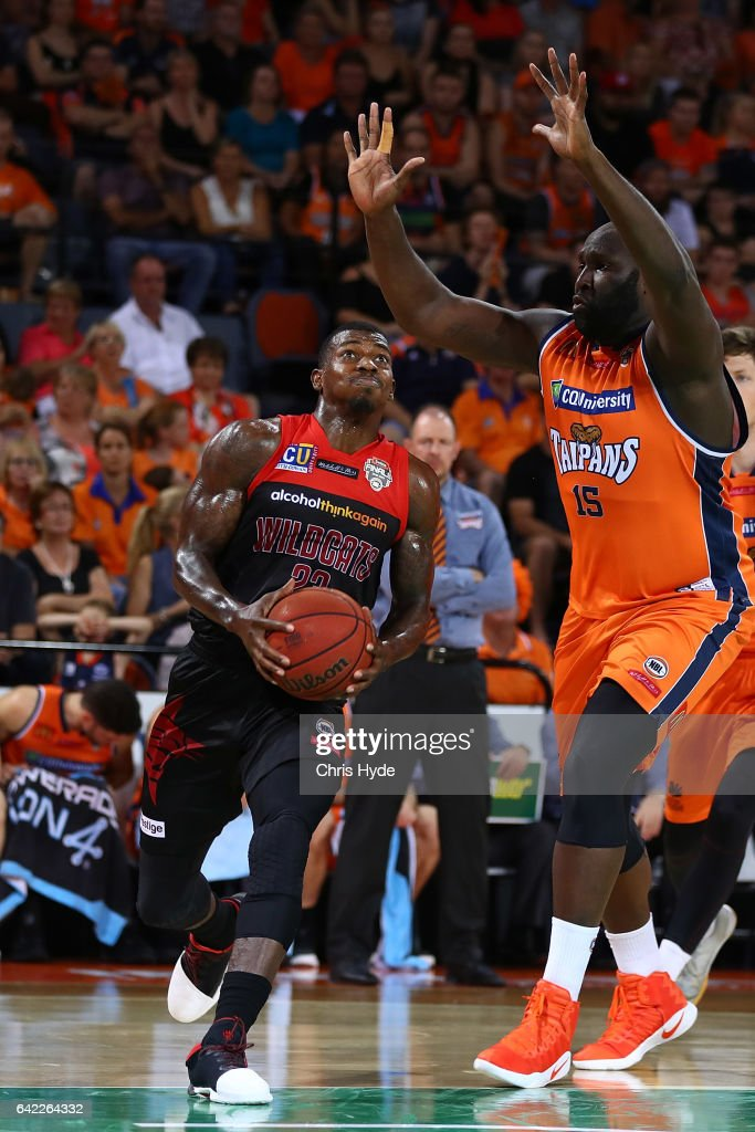 Casey Prather of the Wildcats drives to the basket during the NBL Semi Final Game 1 match between Cairns Taipans and Perth Wildcats at Cairns Convention Centre on February 17, 2017 in Cairns, Australia.
