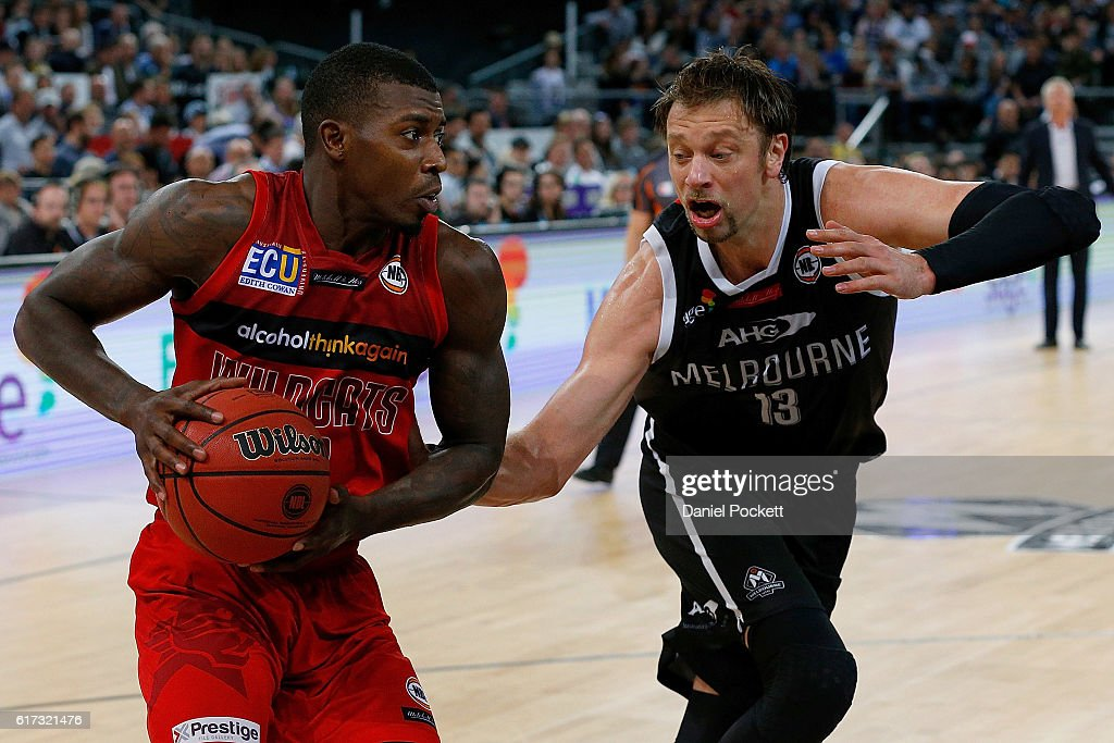Casey Prather of the Wildcats drives to the basket during the round three NBL match between Melbourne United and the Perth Wildcats at Hisense Arena on October 23, 2016 in Melbourne, Australia.