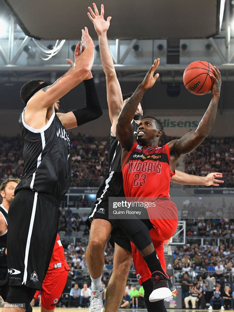 Casey Prather of the Wildcats drives to the basket during the round 19 NBL match between Melbourne United and the Perth Wildcats at Hisense Arena on February 12, 2017 in Melbourne, Australia.