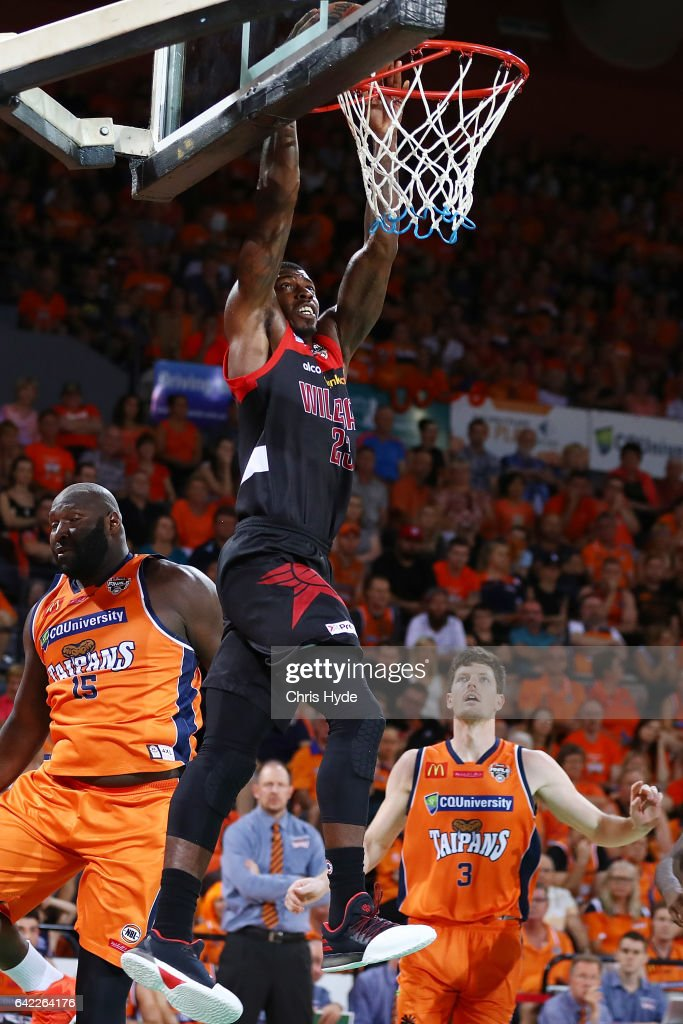 Casey Prather of the Wildcats dunks during the NBL Semi Final Game 1 match between Cairns Taipans and Perth Wildcats at Cairns Convention Centre on February 17, 2017 in Cairns, Australia.