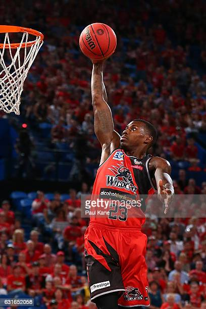 Casey Prather of the Wildcats dunks the ball during the round 15 NBL match between the Perth Wildcats and the Adelaide 36ers at Perth Arena on...