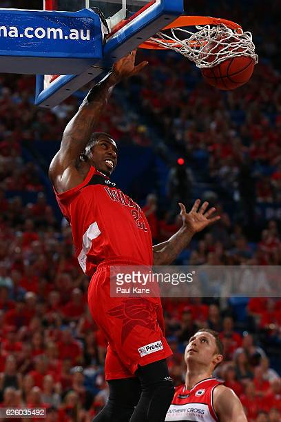 Casey Prather of the Wildcats dunks the ball during the round eight NBL match between the Perth Wildcats and the Illawarra Hawks at the Perth Arena...