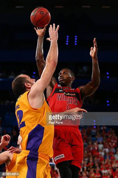 Casey Prather of the Wildcats lays up against Aleks Maric of the Kings of the Kings during the round seven NBL match between the Perth Wildcats and...