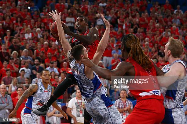 Casey Prather of the Wildcats lays up during the round five NBL match between the Perth Wildcats and the Adelaide 36ers at Perth Arena on November 5...