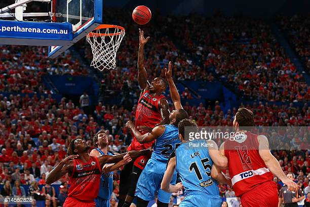 Casey Prather of the Wildcats lays up during the round two NBL match between the Perth Wildcats and the New Zealand Breakers at Perth Arena on...