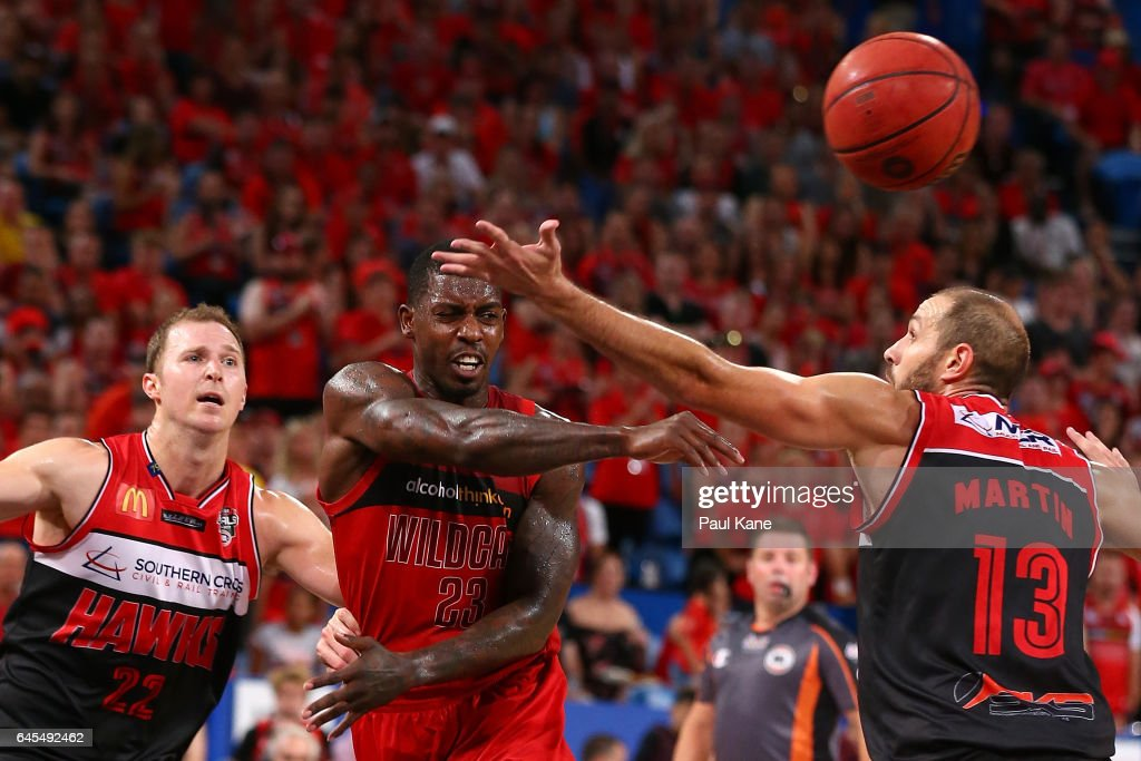 Casey Prather of the Wildcats passes the ball during game one of the NBL Grand Final series between the Perth Wildcats and the Illawarra Hawks at Perth Arena on February 26, 2017 in Perth, Australia.