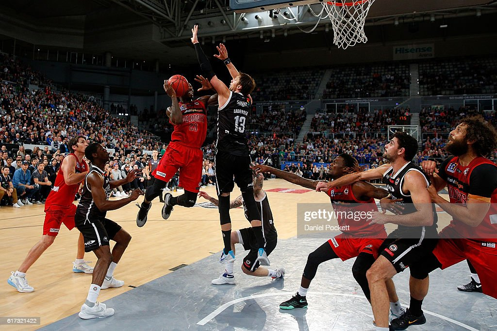 Casey Prather of the Wildcats puts up a shot against David Andersen of Melbourne United during the round three NBL match between Melbourne United and the Perth Wildcats at Hisense Arena on October 23, 2016 in Melbourne, Australia.
