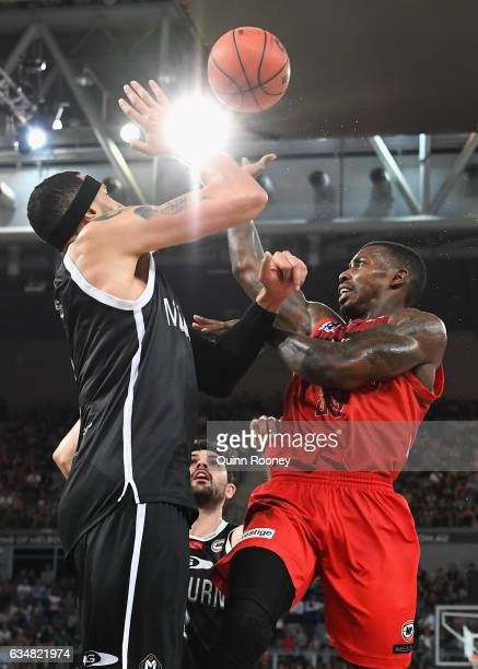 Casey Prather of the Wildcats shoots during the round 19 NBL match between Melbourne United and the Perth Wildcats at Hisense Arena on February 12...