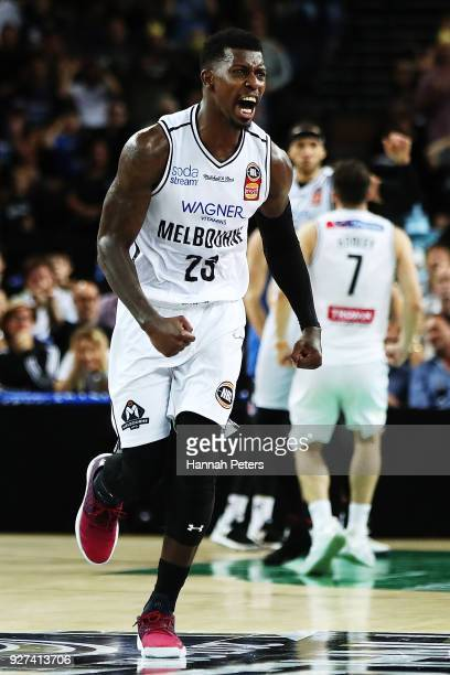 Casey Prather of United celebrates after winning game two of the NBL semi final series between Melbourne United and the New Zealand Breakers at Spark...
