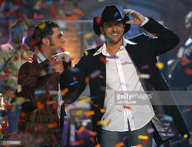 Casey Rivers and Chris Young during Nashville Star Season 4 Episode 8 at TV Studio in Nashville TN United States
