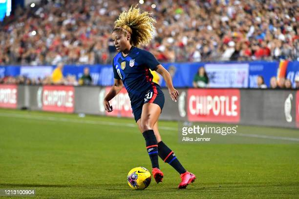 Casey Short of the United States controls the ball during the second half of the SheBelieves Cup match against Japan at Toyota Stadium on March 11...