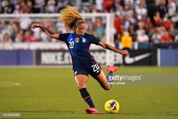 Casey Short of the United States kicks the ball during the second half of the SheBelieves Cup match against Japan at Toyota Stadium on March 11 2020...