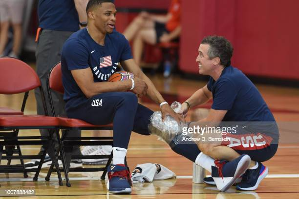 Casey Smith ices Russell Westbrook after USAB Minicamp at Mendenhall Center on the University of Nevada Las Vegas campus on July 27 2018 in Las Vegas...
