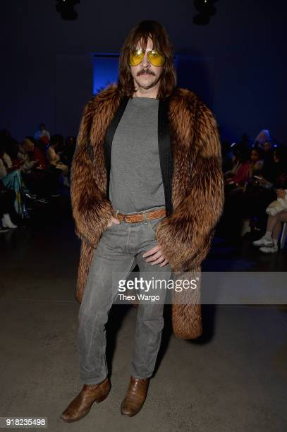 Casey Spooner attends the Laquan Smith front row during New York Fashion Week The Shows at Gallery I at Spring Studios on February 14 2018 in New...