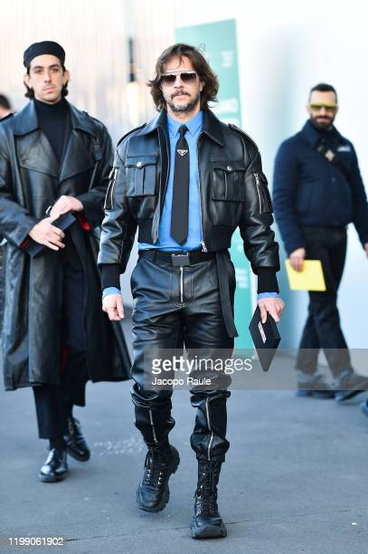 Casey Spooner is seen at the Prada fashion show on January 12 2020 in Milan Italy