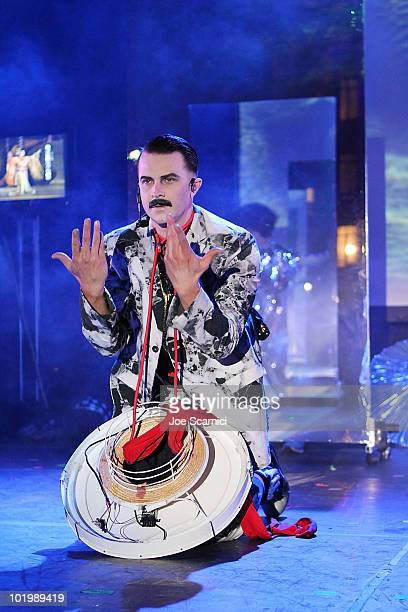 Casey Spooner of the group Fischerspooner performs at Billabong's 4th Annual 'Design For Humanity' Benefit at Paramount Studios on June 10 2010 in...