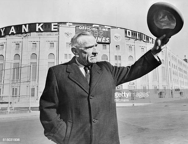 Casey Stengel manager of the New York Yankees waves a farewell to Yankee Stadium with his fedora as he heads for home and relaxation Casey still gets...