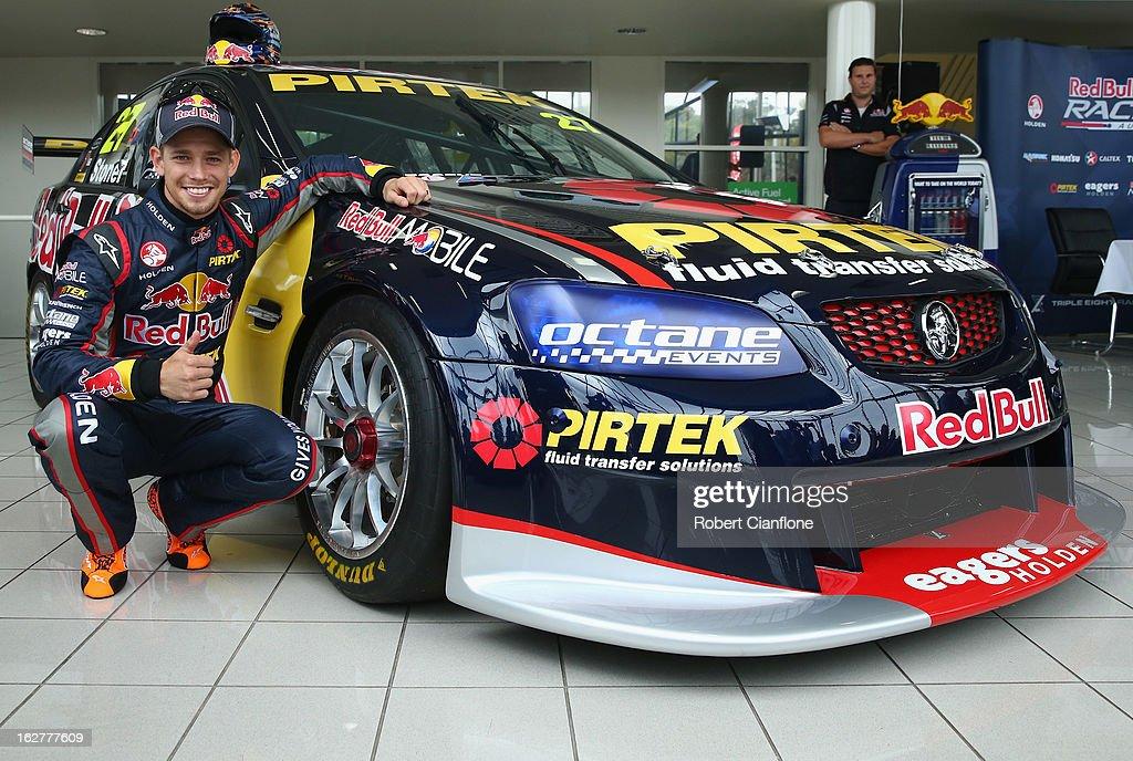 Casey Stoner driver for Red Bull Racing Australia poses for the media during the unveiling of Casey Stoner's Development Series V8 Supercar at Southgate Holden on February 27, 2013 in Adelaide, Australia.