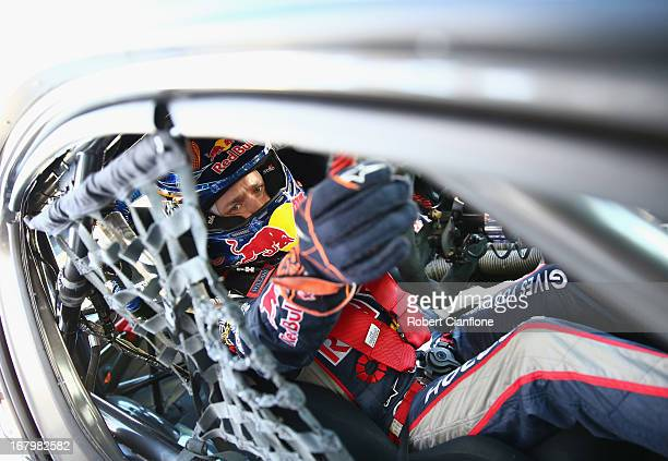 Casey Stoner driver of the Red Bull Pirtek Holden prepares for the qualifying session for round two of the V8 Supercars Dunlop Development Series at...