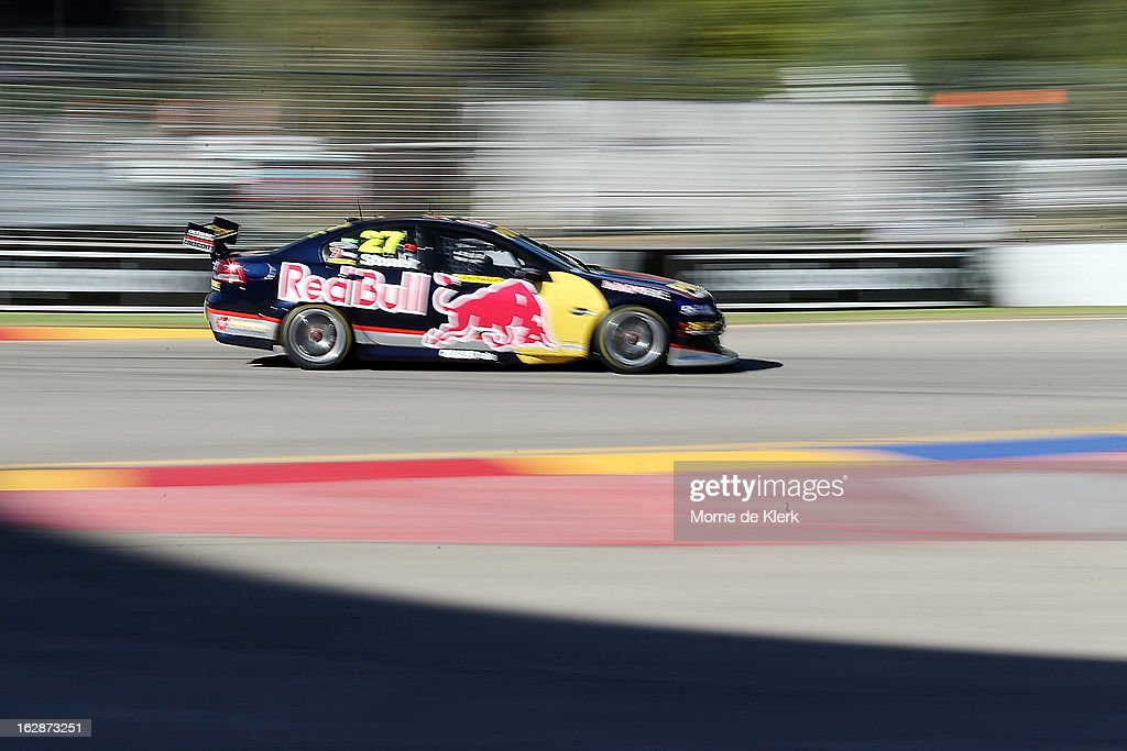 Casey Stoner drives the #27 Red Bull Pirtek Holden during qualifying for round one of the V8 Supercars Dunlop Development Series at the Adelaide Street Circuit on March 1, 2013 in Adelaide, Australia.