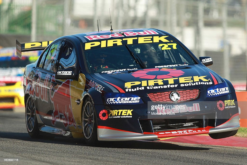 Casey Stoner drives the #27 Red Bull Pirtek Holden during race one of the V8 Supercars Dunlop Development Series at the Adelaide Street Circuit on March 1, 2013 in Adelaide, Australia.