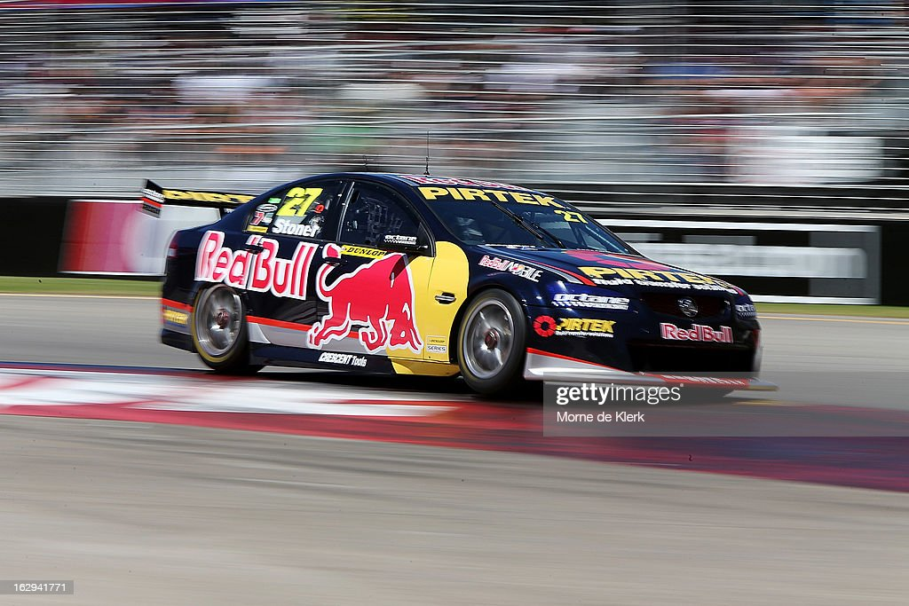 Casey Stoner drives the #27 Red Bull Pirtek Holden during race two of the V8 Supercars Dunlop Development Series at the Adelaide Street Circuit on March 1, 2013 in Adelaide, Australia.