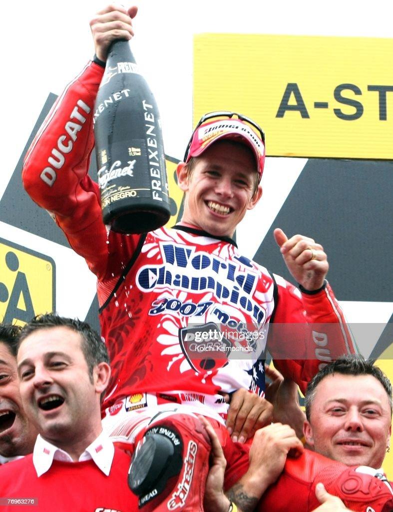 Motogp Of Japan Photos And Images Getty Ringcircuit Casey Stoner Australia Ducati Marlboro Celebrates Winning The World Title After Round 15