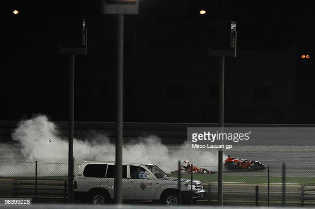 Casey Stoner of Australia and Ducati Marlboro crashes out during the MotoGP of Qatar at Losail Circuit on April 11, 2010 in Doha, Qatar.