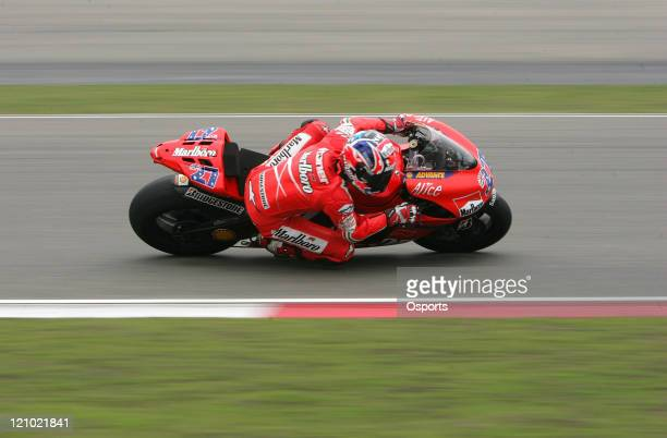 Casey Stoner of Australia and Ducati Marlboro team in action during the Free Practice 2 at the 2007 Motorcycle Grand Prix of China at the Shanghai...