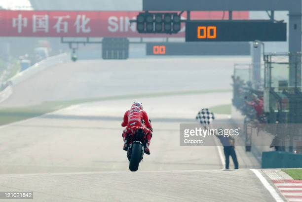 Casey Stoner of Australia and Ducati Marlboro team in action during the Motorcycle Grand Prix of China at Shanghai International Circuit Casey Stoner...