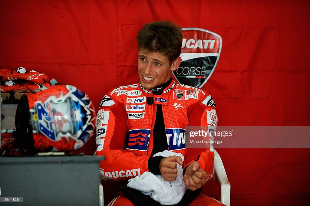 Casey Stoner of Australia and Ducati Marlboro Team looks on in box during the final day of the MotoGP test at Sepang International Circuit, near Kuala Lumpur, Malaysia on February 5, 2010.