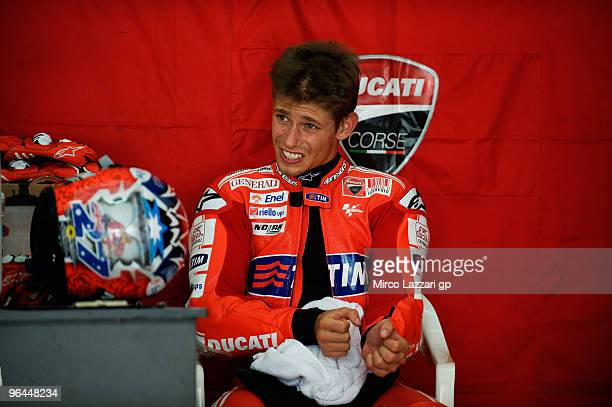 Casey Stoner of Australia and Ducati Marlboro Team looks on in box during the final day of the MotoGP test at Sepang International Circuit near Kuala...
