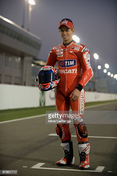 Casey Stoner of Australia and Ducati Marlboro Team poses on the track during the official photo for the start of the season during the second day of...