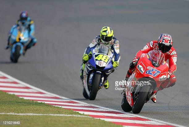 Casey Stoner of Australia and Ducati Marlboro team Valentino Rossi of Italy and Fiat Yamaha team and John Hopkins of USA and Rizla Suzuki team in...