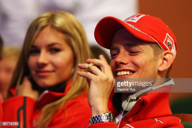 Casey Stoner of Australia and his wife Adriana follow a Wrooom press conference on January 12 2010 in Madonna di Campiglio Italy