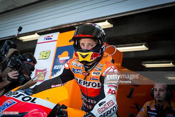 Casey Stoner of Australia and LCR Honda Moto GP Team prepares before the MotoGP race at Indianapolis Motor Speedway on August 19, 2012 in...