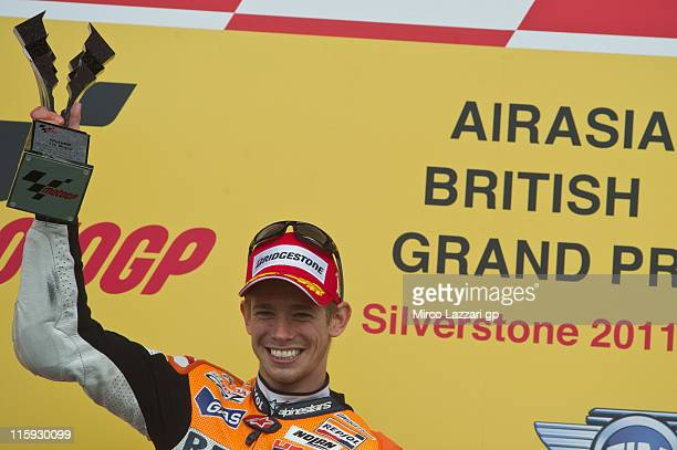 Casey Stoner of Australia and Repsol Honda Team celebrates the victory at the end of the MotoGP race of MotoGp Of Great Britain at Silverstone...