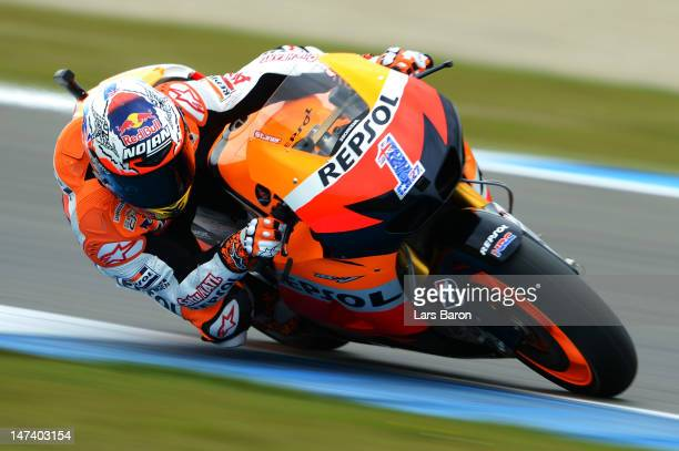 Casey Stoner of Australia and Repsol Honda Team drives during the qualifying of MotoGp Of Holland at TT Circuit Assen on June 29 2012 in Assen...