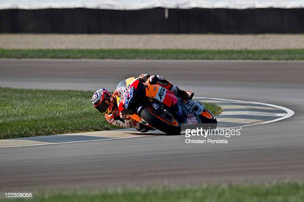 Casey Stoner of Australia and Repsol Honda Team during the qualifying practice of the Red Bull Indianapolis GP at Indianapolis Motorspeedway on...