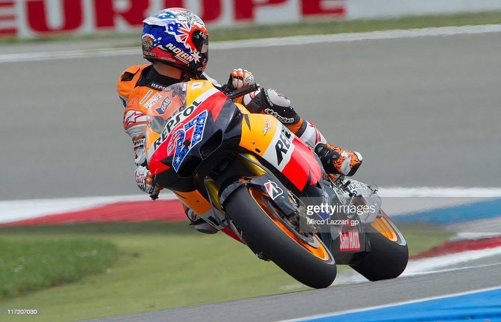 Casey Stoner of Australia and Repsol Honda Team looks back during the qualifying practice of MotoGP of Netherlands at TT Circuit Assen on June 24, 2011 in Assen, Netherlands.