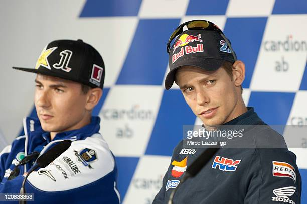 Casey Stoner of Australia and Repsol Honda Team looks on during the press conference preevent of the MotoGp of Czech Republic at Brno Circuit on...