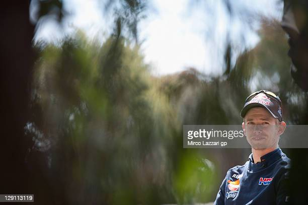 Casey Stoner of Australia and Repsol Honda Team poses during the preevent 'Trout fishing' prior to the Australian MotoGP which is round 16 of the...