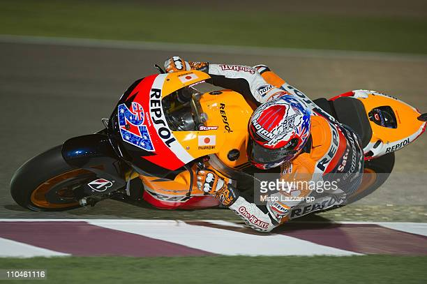 Casey Stoner of Australia and Repsol Honda Team rounds the bend during the free practice of Doha GP at Losail Circuit on March 18 2011 in Doha Qatar
