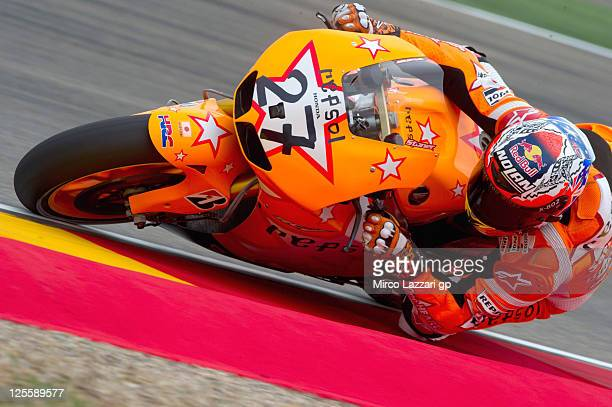 Casey Stoner of Australia and Repsol Honda Team rounds the bend during the MotoGP race of MotoGP of Spain at Motorland Aragon Circuit on September...