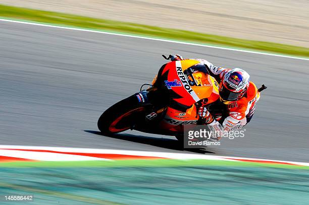 Casey Stoner of Australia and Repsol Honda Team rounds the bend during the free practice at Circuit de Catalunya on June 2 2012 in Montmelo Spain...